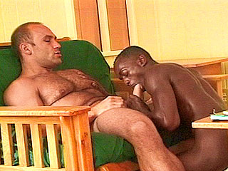 Choco cub gagging over huge ivory cock